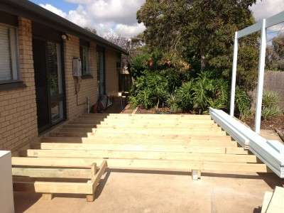 Construction of deck and pergola - before